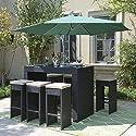 Belleze 7pc Outdoor Rattan Wicker Bar Stool Dining Table Set Barstool w/ Footrest, Black