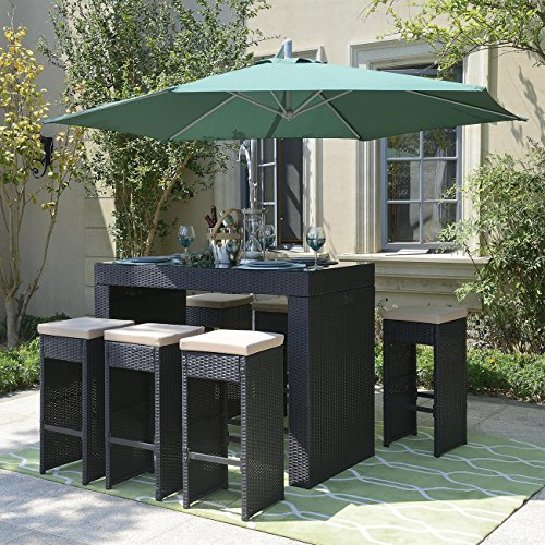 Belleze 7pc Outdoor Rattan Wicker Bar Stool Dining Table Set Barstool w/ Footrest, Black (Rattan Dining Set)