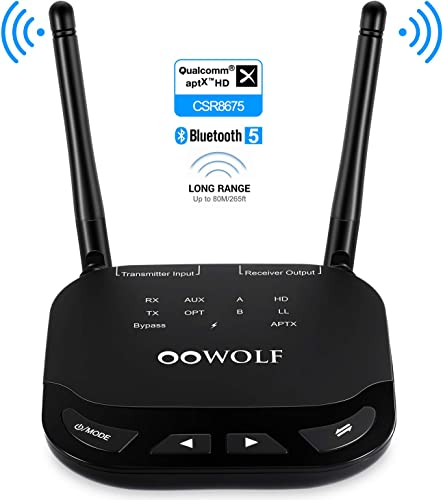 OOWOLF Bluetooth Transmitter Receiver, aptX Low Latency aptX HD Long Range Bluetooth 5.0 Transmitter Adapter for 2 Headphones, 3.5mm Audio, Home Stereo, Optical Digital, AUX RCA
