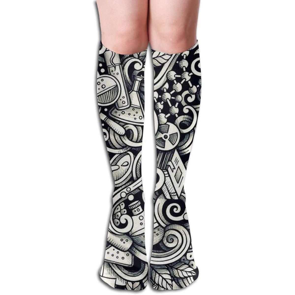 Chemical Sketch Compression Socks For Women Casual Fashion Crew Socks
