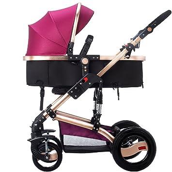 Carretilla de bebé de alto perfil, puede sentarse para cubrir el choque de bebé multi-función de dos ruedas de cuatro ruedas (Color : Purple) : Amazon.es: ...