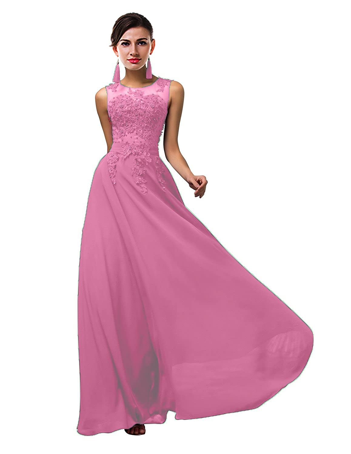 Hot Pink CaliaDress Women Tulle Appliques Long Bridesmaid Dress Prom Evening Gowns C002LF