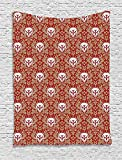 asddcdfdd Gothic Tapestry, Baroque Pattern with Floral Curves Old Fashioned Antique Design Skull Motifs, Wall Hanging for Bedroom Living Room Dorm, 60 W X 80 L Inches, Ruby Cocoa White