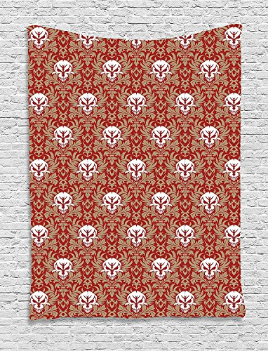asddcdfdd Gothic Tapestry, Baroque Pattern with Floral Curves Old Fashioned Antique Design Skull Motifs, Wall Hanging for Bedroom Living Room Dorm, 60 W X 80 L Inches, Ruby Cocoa White by asddcdfdd
