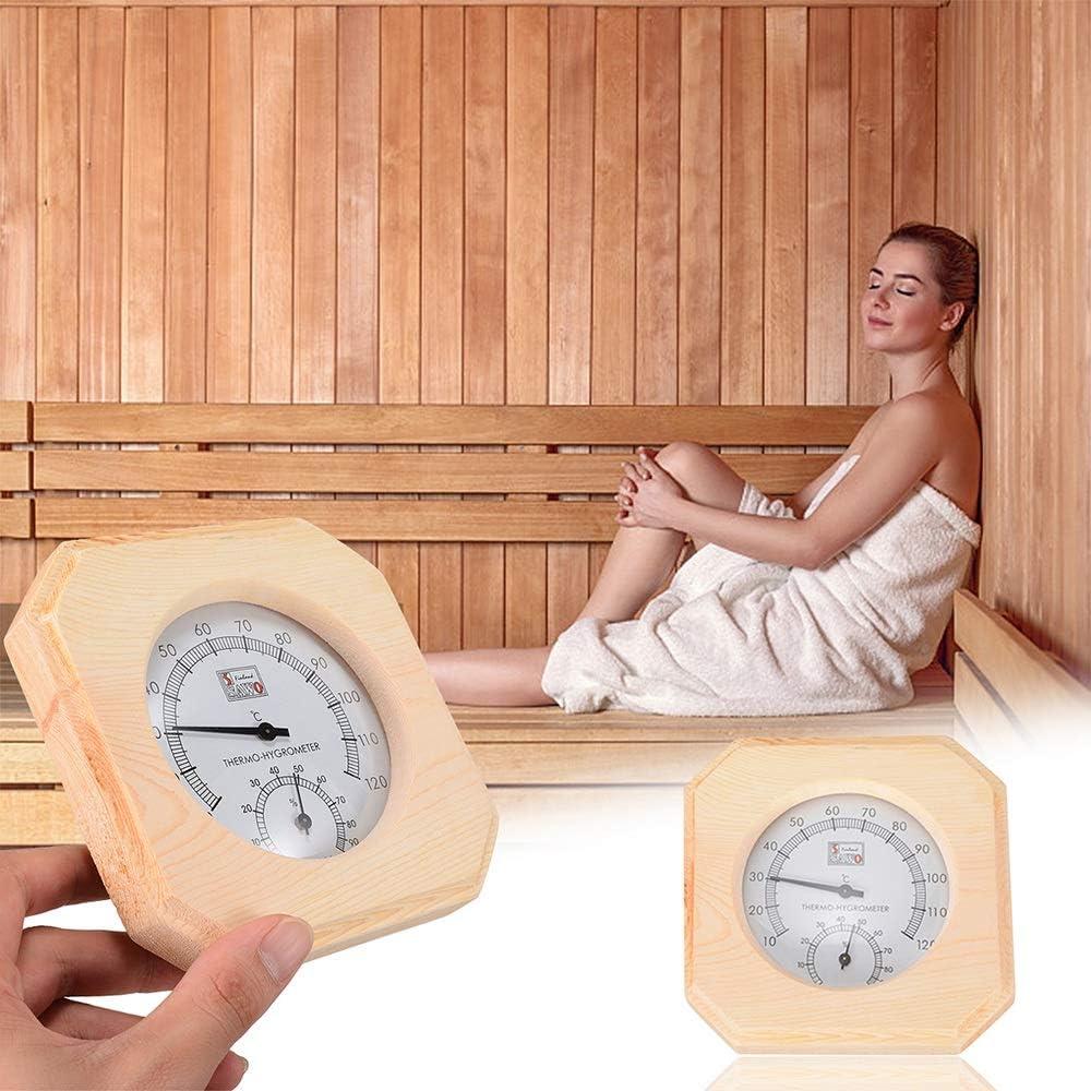 Xigeapg Mesure De La Temp/éRature du Bois Sauna Thermom/èTre De Chambre Hygrothermographe Hygrom/èTre Mesure Dhumidit/é Mesure Fournitures pour La Maison