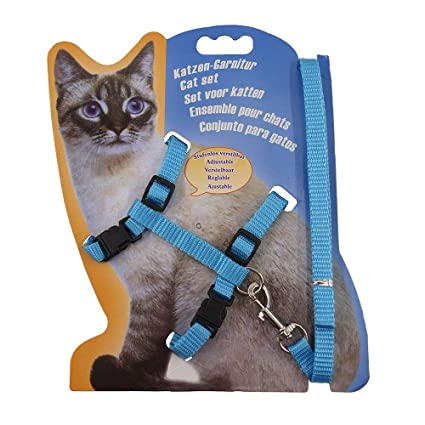 Rella Home Adjustable Nylon Cat Harness and Leash Halter Safety Rope Leads (Light Blue)