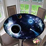 Round Polyester Tablecloth Table Cover The Two Planets Solar System deep in The Galaxy for Most Home Decor 67''-71'' Round (Elastic Edge)