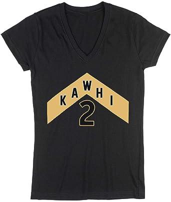 save off 14ccf 9edf3 Black Toronto Kawhi The North Jersey Logo Ladies V-Neck T-Shirt