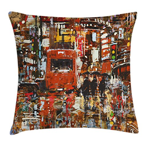 Ambesonne Fantasy Art Decor Throw Pillow Cushion Cover, Urban Abstract Picture with Tramway and Human Crowd Cityscape Traffic Lights, Decorative Square Accent Pillow Case, 24 X 24 Inches, Multi Square Tramway