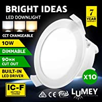 LED Downlight, LUMEY 10 Pack 10W Dimmable LED Recessed Downlight Kit CCT Changeable Eye-Friendly Daylight White Warm White Amber Downlight Bulbs