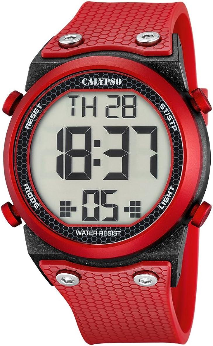 Calypso–Reloj Digital Unisex con LCD Pantalla Digital Dial y Correa de plástico de Color Rojo, K5705/5