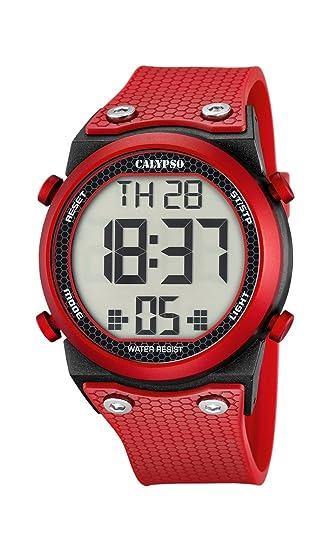 Calypso - Reloj Digital Unisex con LCD Pantalla Digital Dial y Correa de plástico de Color Rojo, K5705/5: Calypso: Amazon.es: Relojes