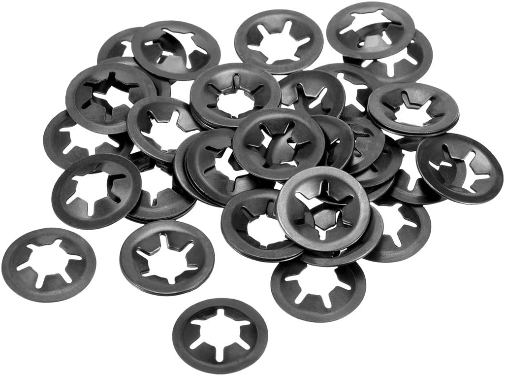 Internal Tooth Lock Washers Push-On Locking Speed Clip 65Mn Black Oxide Finish 20pcs 9mm O.D sourcing map M3 Starlock Washer 2.5mm I.D