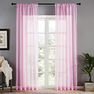 MRTREES Pink Sheer Curtains Girls' Room 95 inches Long Voile Curtain Sheers Kids Room Curtain Panels Nursery Bedroom Light Filtering Drapes Rod Pocket Window Treatment Set 2 Panels