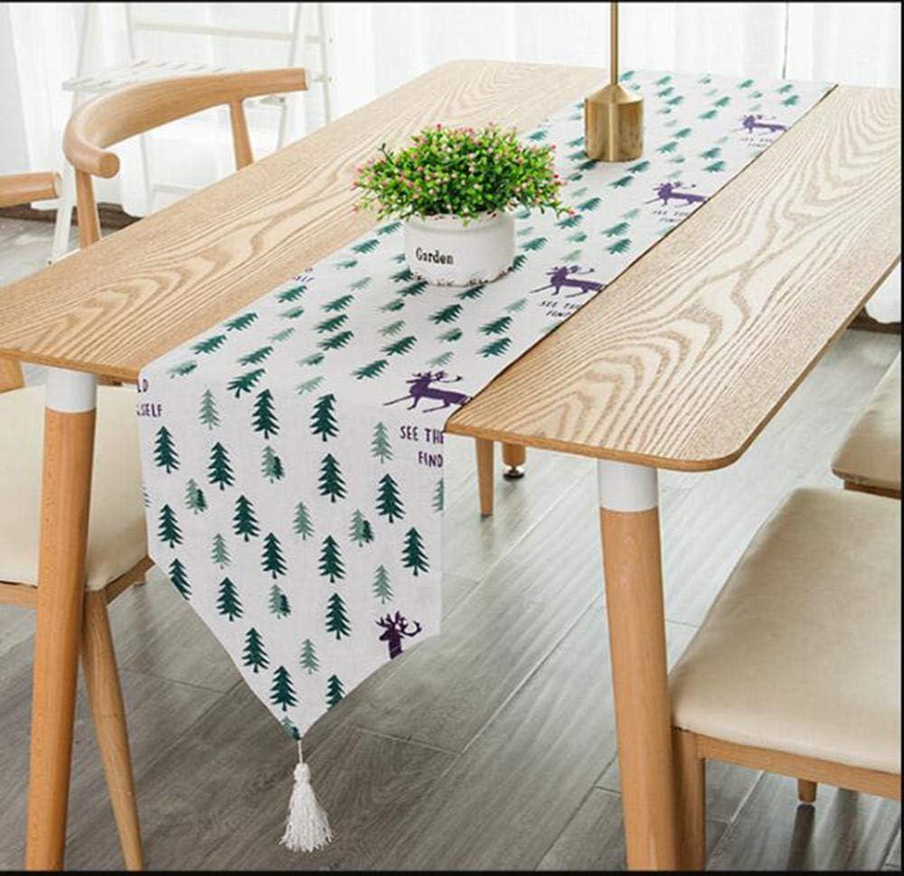 100cm cyxb Chemins de Table Chemin de lit /à Rayures Moderne pour Mariage Tissu de g/éom/étrique avec Glands Salle /à Manger D/écoration Party Home-Blanc/_30