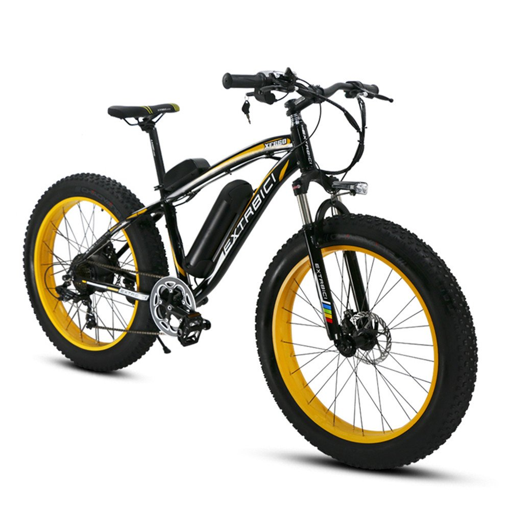Extrbici XF660 FATBIKE ファットバイク スノーバイク 自転車 リチウム×バッテリー 26インチホイール シマノ7段変速 極太タイヤ264.0 電機500w 雪道 悪路 泥よけ付き 防犯登録可能 B06ZZ1MP45 黄色 黄色