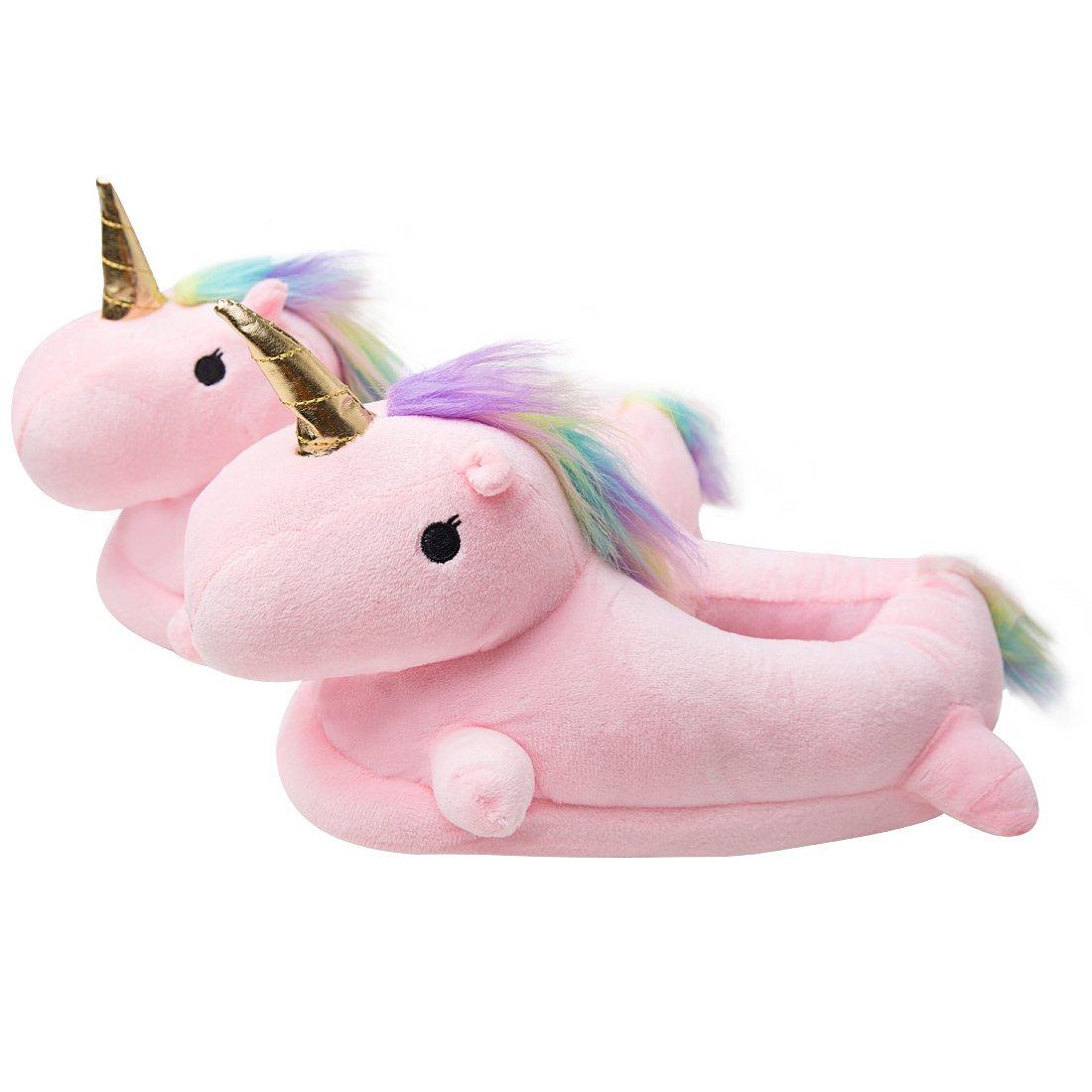 Luckly Cloud-UK Pantofole Unicorno Unisex Adulti Calde LED Pantofole di Peluche a Ciabatte Regalo di Compleanno Halloween Cosplay Taglia Europea 36-41 Rosa4 Caviglia Alta