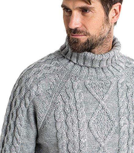 WoolOvers Pullover mit Aran-Muster und Rollkragen aus reiner Wolle für Herren Flannel, S