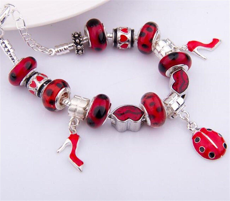 Kangqi DIY Bracciale Coccinella Bracciale con Tacchi Bracciale con Perline Fai da Te Rosso