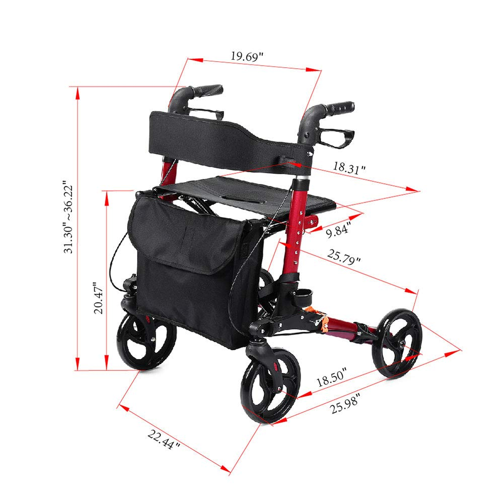 Elenker Adult Rolling Walker Compact Folding Rollator Load Cell Amplifier Ldu 691 Specifications With Comfortable 1811x 984 Inch Seat Health Personal Care
