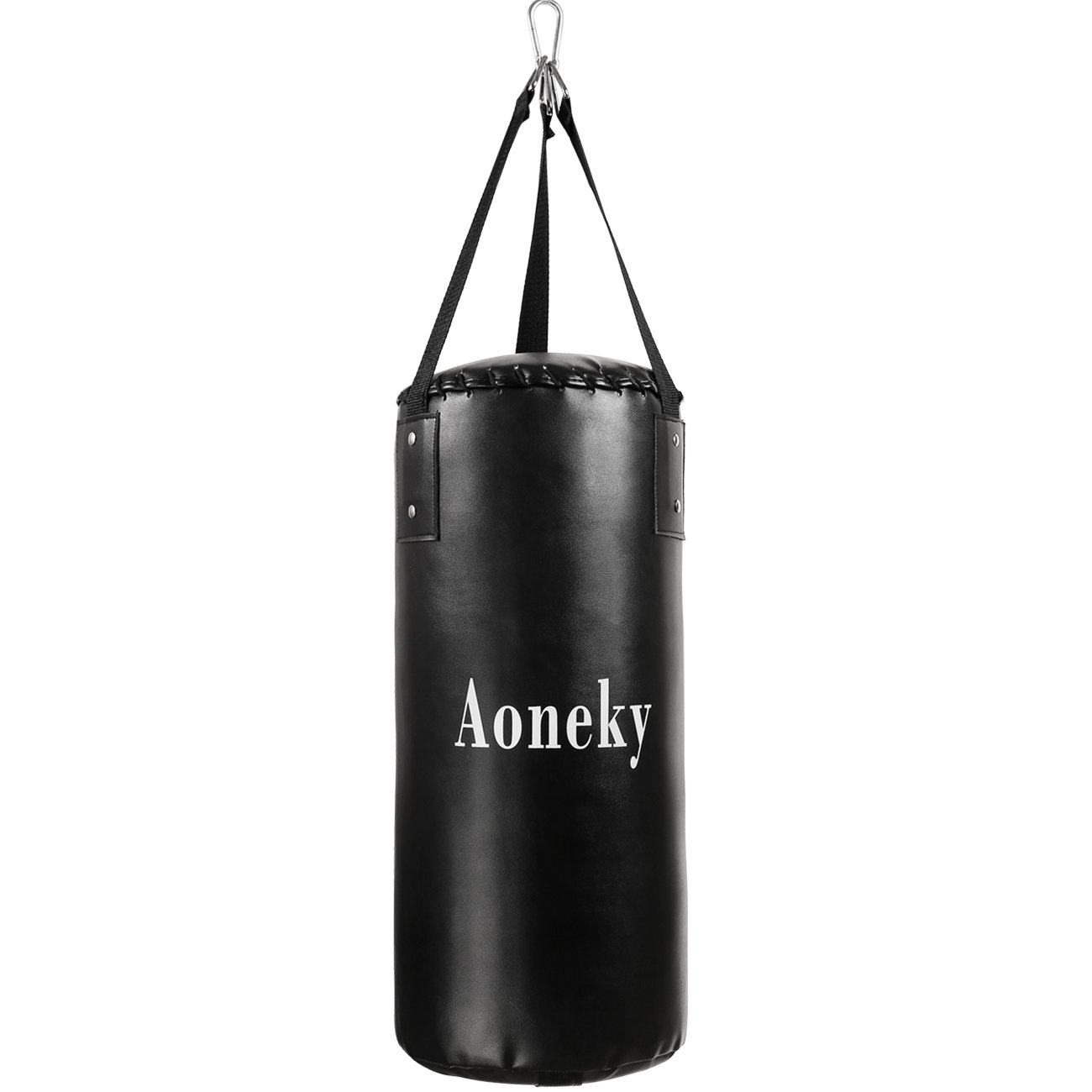 Aoneky Leather Kids Punching Bag – Filled Boxing Bag for Kids Karate, 10 Pound Kicking Bag for Children Aged 3 to 10 Years Old, Hanging Punch Bag, Small Kickboxing Bag (Black)
