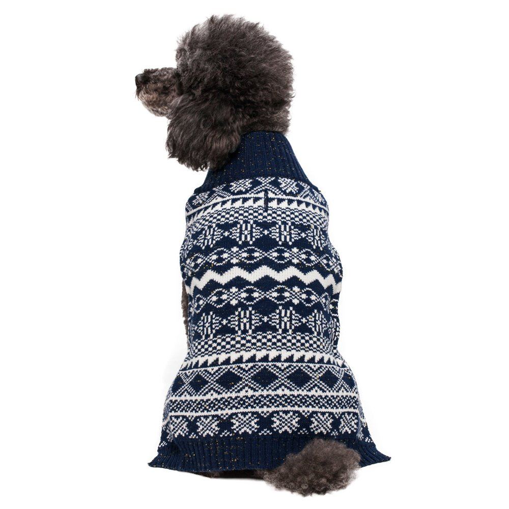 Blueberry Pet 4 Patterns Vintage Tinsel Knit Fair Isle Dog Sweater in Midnight Blue, Back Length 16'', Pack of 1 Clothes for Dogs