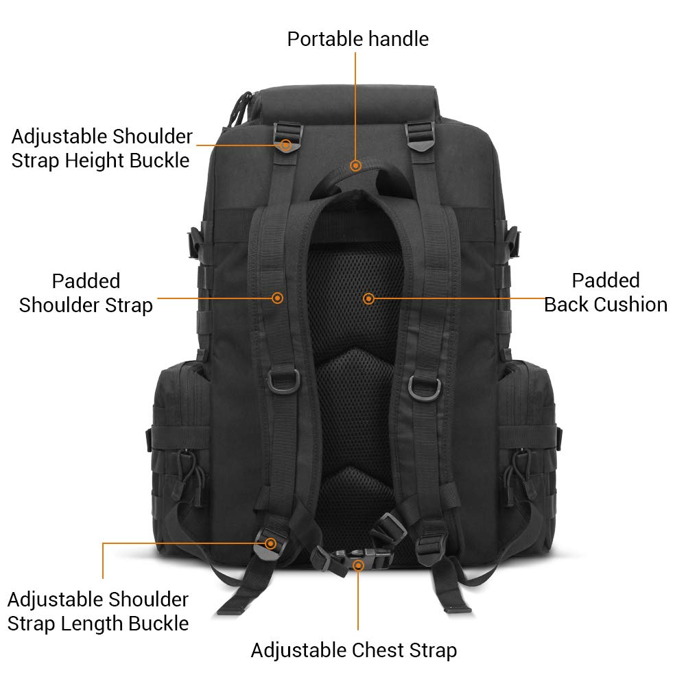 FUNANASUN Tactical Backpack 45L Assault Pack 3 Day Molle Bug Out Bag Backpacks Rucksack for Outdoors Travel Sport Hiking Camping