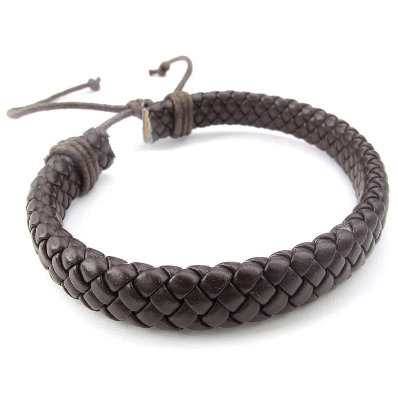 MENDINO Handmade Woven Leather Bangle Strap Adjustable Rope Bracelet with a Velvet Bag JBR0065BK UK