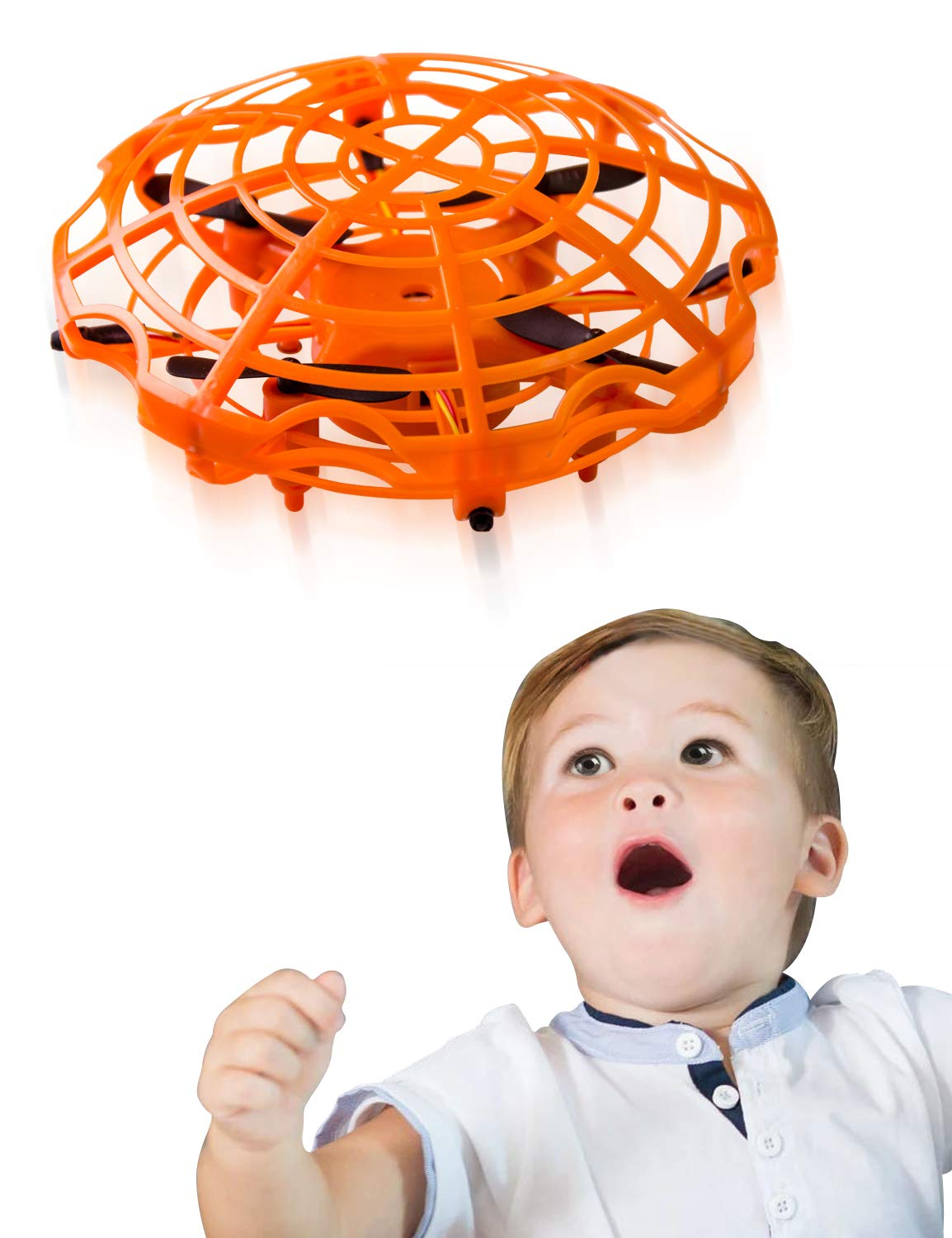 Refasy Flying Toys for Kids, UFO Toy for Boys 3 4 5 6 7 8 9 10 11 12 Year Old Drones for Kids Mini Drones Hand Controlled Flying Ball Drone Toys LED Light for Kids, Boys and Girls Toys Orange by Refasy (Image #1)