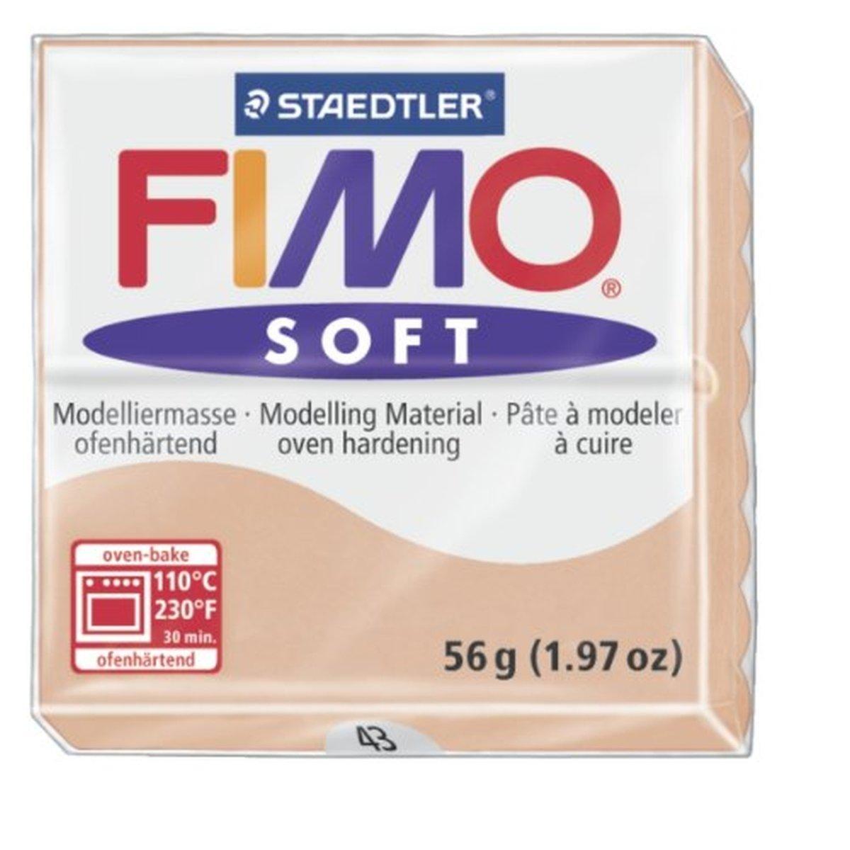 Staedtler Fimo suave carne (43) para horno Bake modelado de modelar arcilla bloque de polímero de color 56 G (, 1 unidades)