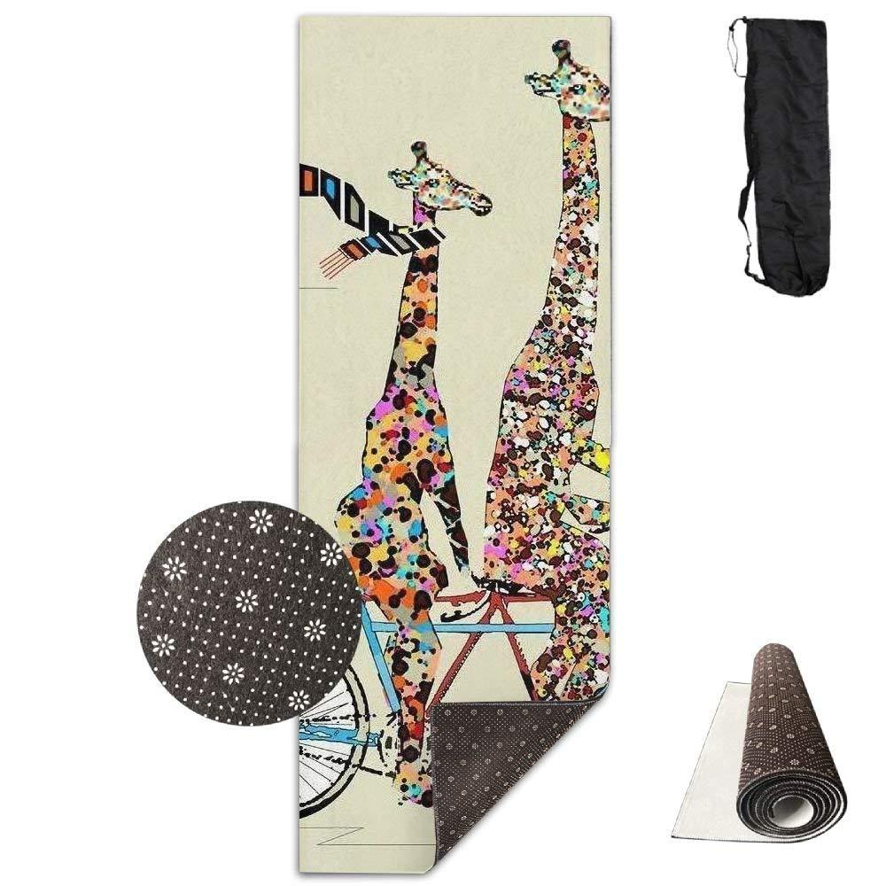 Giraffes Ride Bike Deluxe Yoga Mat Aerobic Exercise Pilates