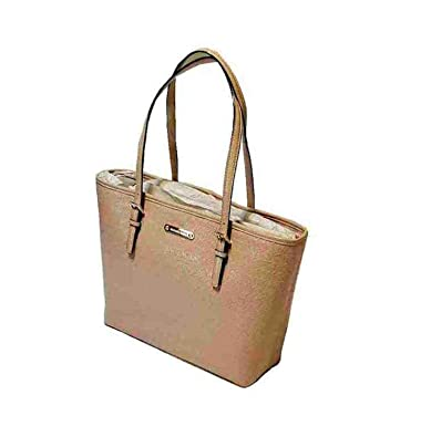 45f3b1033ce4 Amazon.com: Michael Kors Jet Set Travel Carry All Tote, Monogram Leather,  Oyster: Shoes