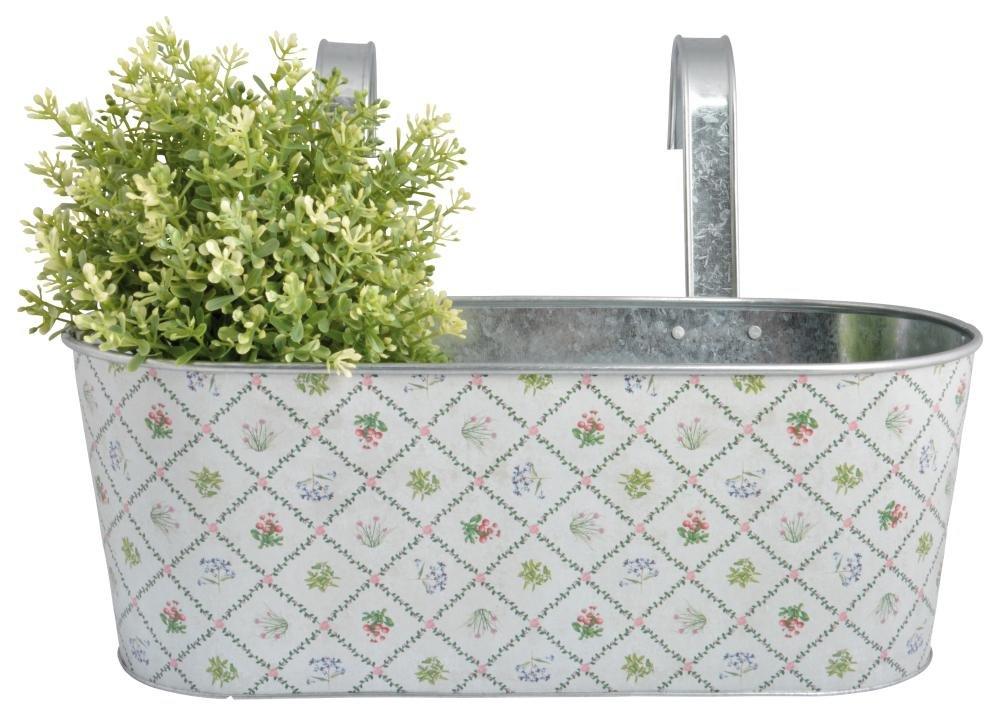 8 Stück Esschert Design Balkonkasten, Blumenkasten im Botanicae Design, 7,5 Liter, ca. 39 cm x 29 cm x 27 cm