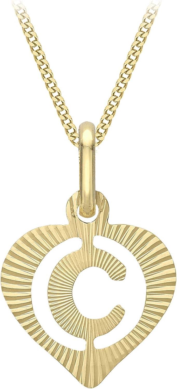 Carissima Gold Collar con Colgante Corazón con Inicial 'C' (Corte Diamante) para Mujer - Cadena Grumet en Oro Amarillo 9K (375) - 46 cm
