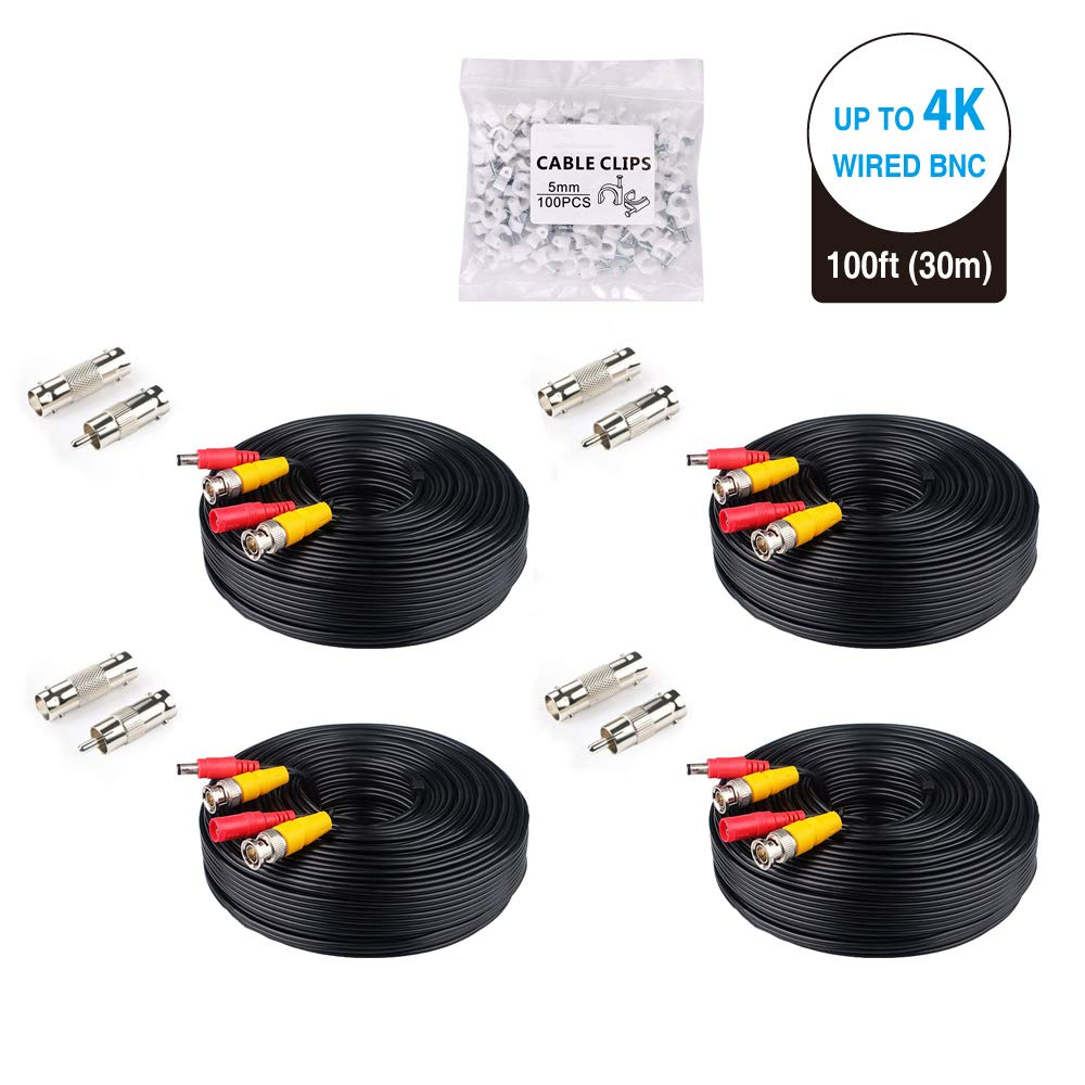 LONNKY 4Pack 4K 8MP 5MP 2MP 100Ft 30 Meters Pre-Made All-in-One BNC Cables for Security Camera System and CCTV Bullet Cameras or Dome Cameras(Black) by LONNKY