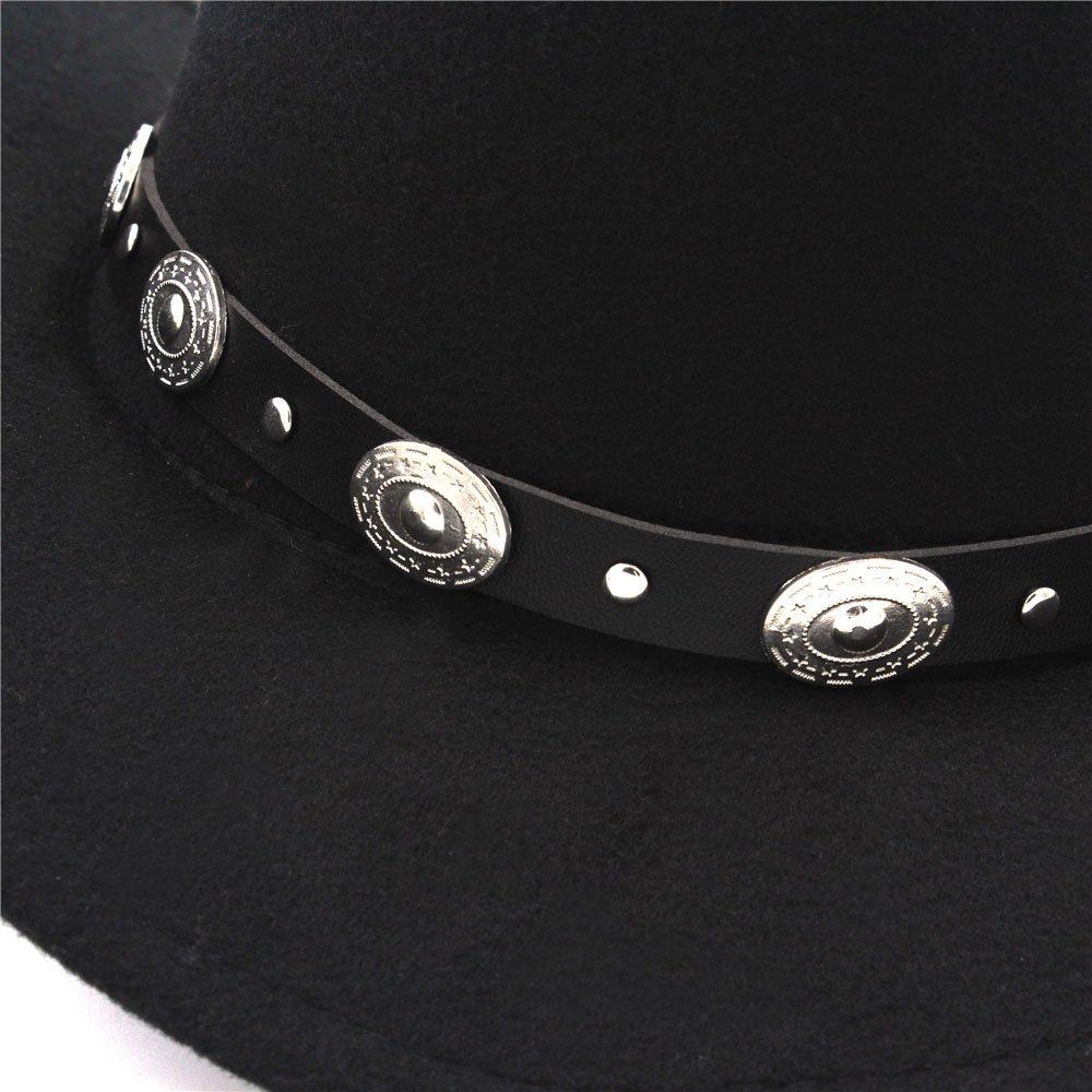 Ruiyue Vintage Womem Men Western Cowboy Hat with Wide Brim Punk Belt Cowgirl Jazz Cap with Leather Toca Sombrero Cap