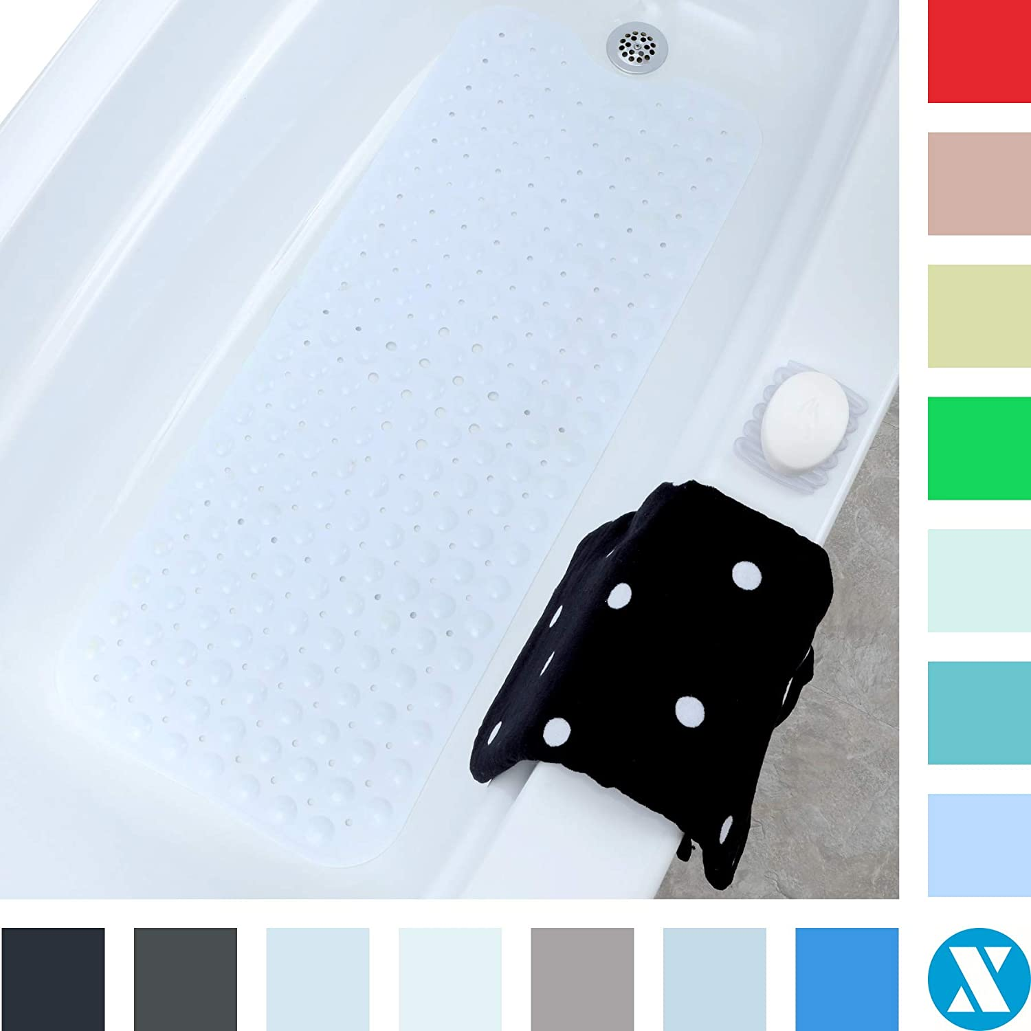 """SlipX Solutions White Extra Long Bath Mat Adds Non-Slip Traction to Tubs & Showers - 30% Longer Than Standard Mats! (200 Suction Cups, 39"""" Long Bathtub Mat)"""