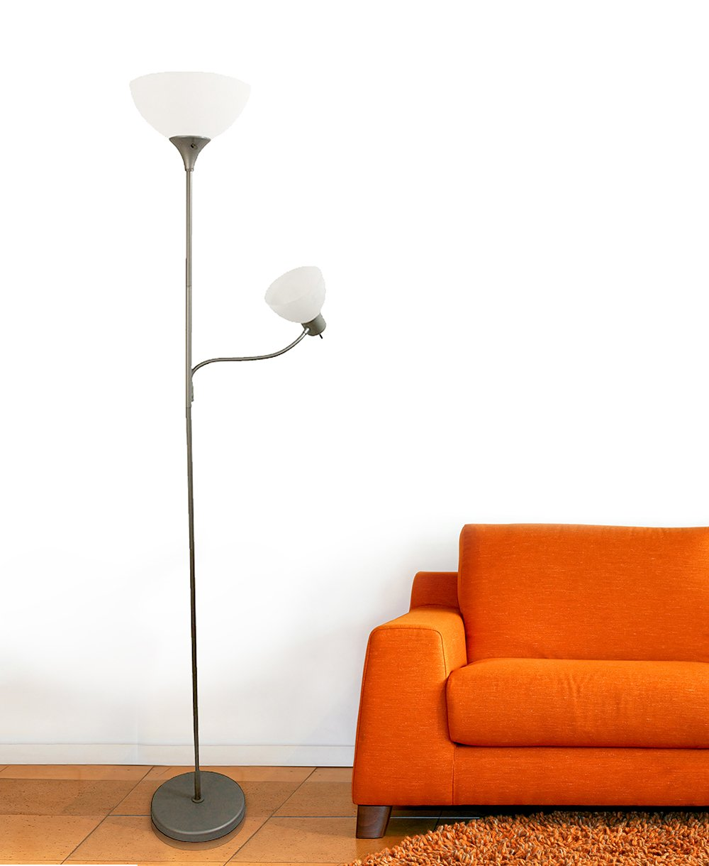 Simple Designs LF2000-SLV Floor Lamp with Reading Light, Silver - -  Amazon.com
