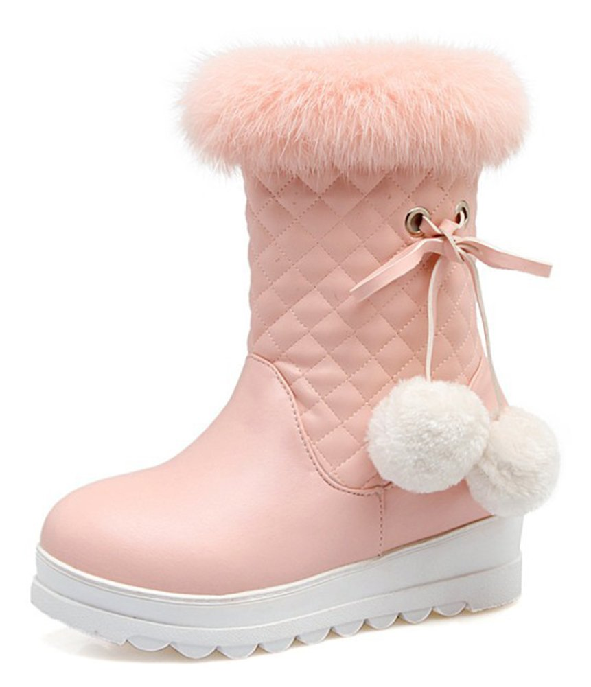 Aisun Women's Pompoms Quilted Round Toe Faux Fur Lined Winter Booties Inside Zip up Elevator Mid Heel Platform Snow Ankle Boots (Pink, 9 B(M) US)