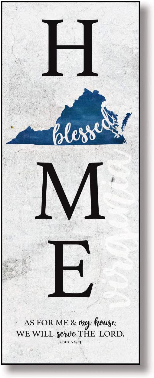 As for me /& my house we will serve the Lord Hangs on Wall North Carolina Home Wood Plaque with Inspiring Quotes 6x15 3//4 Blessed in Our State Joshua 24:15 Classic Colorful Vertical Wall Frame
