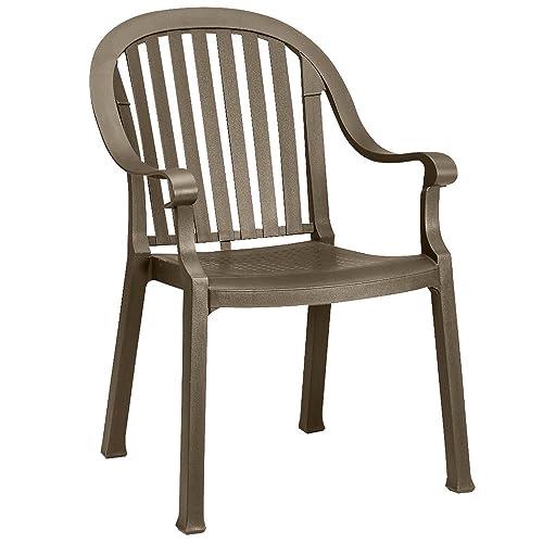 Grosfillex – US650037 – Resin Armchair, Bronze Mist, 23 Width, 24 Depth, 34 Height