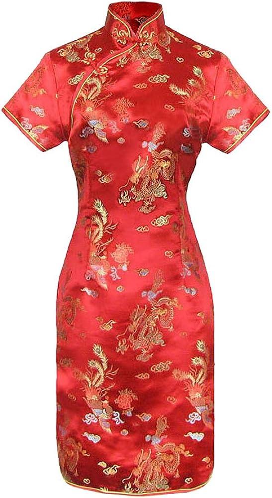 TALLA 38. Vestido Chino Corta y Larga Cheongsam Mangas Cortas Qipao Motivo dragón de 38 a 50 Rojo 2