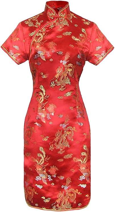 TALLA 40. Vestido Chino Corta y Larga Cheongsam Mangas Cortas Qipao Motivo dragón de 38 a 50 Negro 2 40