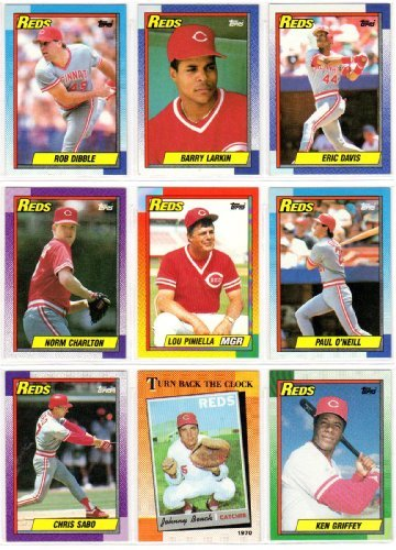 Cincinnati Reds 1990 Topps Baseball Master Team Set (World Series Champions) with Year-End Traded Cards (35 Cards) (Barry Larkin) (Eric Davis) (Rob Dibble) and More (World 1992 1993 Series)