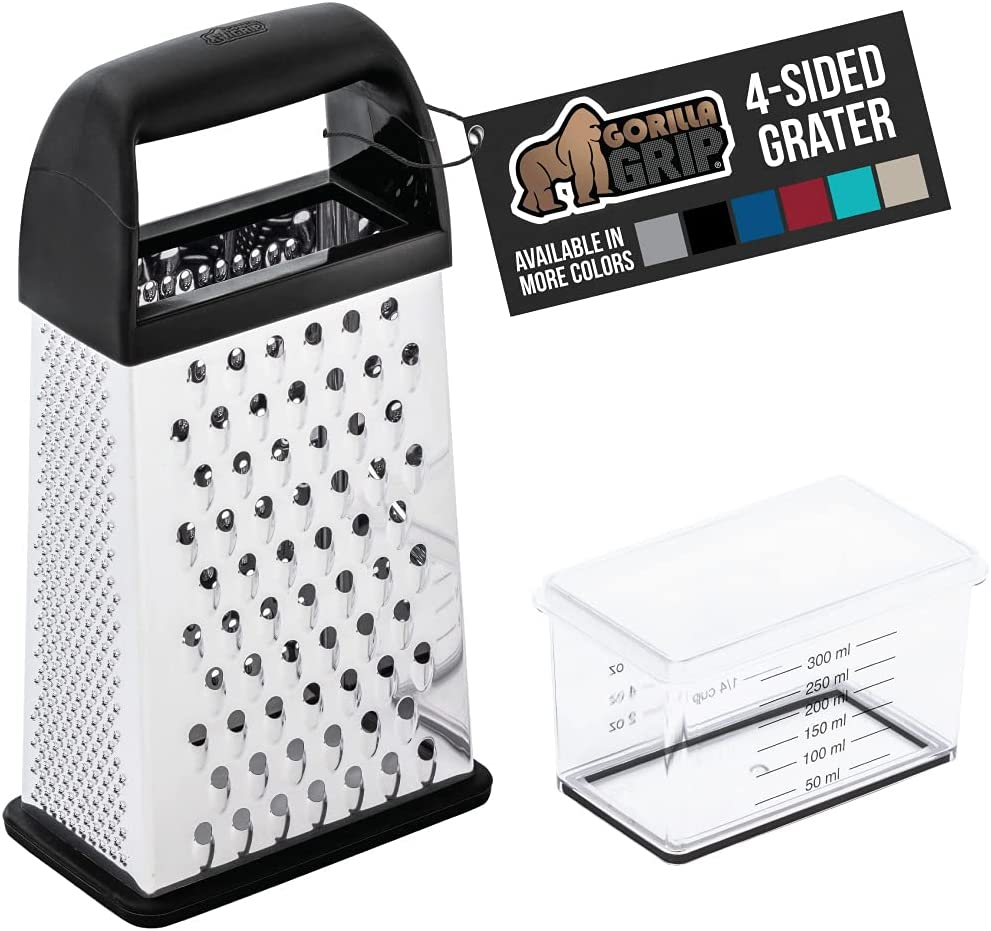 Gorilla Grip Box Grater, Stainless Steel, 4-Sided Graters with Handle for Cheese, Vegetables, Ginger, Handheld Food Shredder, Zester, Detachable Storage Container with Lid for Kitchen, 10inch, Black