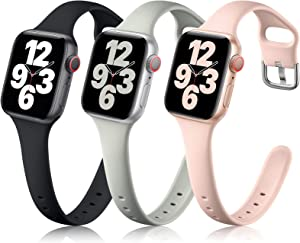 Getino Compatible with Apple Watch Bands 38mm 40mm 42mm 44mm iWatch Bands Series SE 6 5 4 3 2 1 Women Men, Narrow Slim Durable Flexible Replacement Band, Black/Pink/Gray 38/40mm