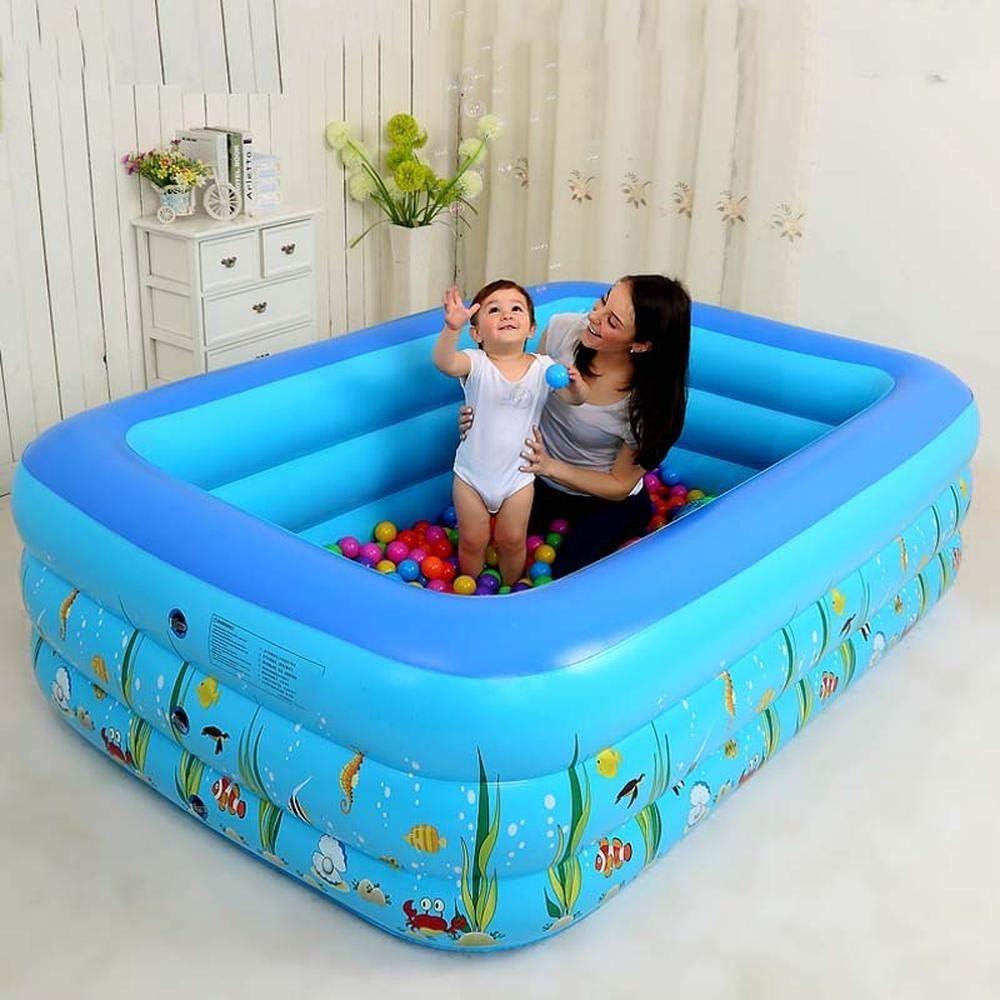 Juegos de Piscina inflables, Piscina Inflable Verano Gigante para la Familia - Rectángulo de Dibujos Animados 3 Anillos Inflable Kiddie Pools Swim Center: Amazon.es: Deportes y aire libre