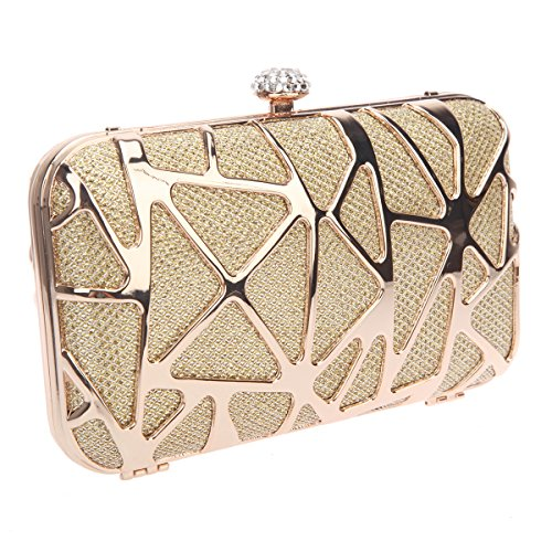 Clutches Special Bonjanvye Cube Water for Box Girls Evening Purses Gold RAXU4wxq