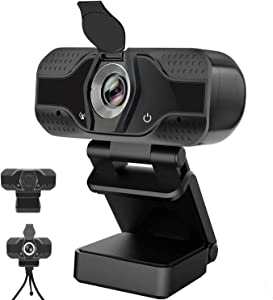 2020 [Upgraded] 1080P HD Webcam with Microphone, Flexible Rotatable Clip and Tripod,USB PC Computer Camera with Microphone Smart Streaming Web Cam for Laptop Desktop Notebook, Video Calling, Recording