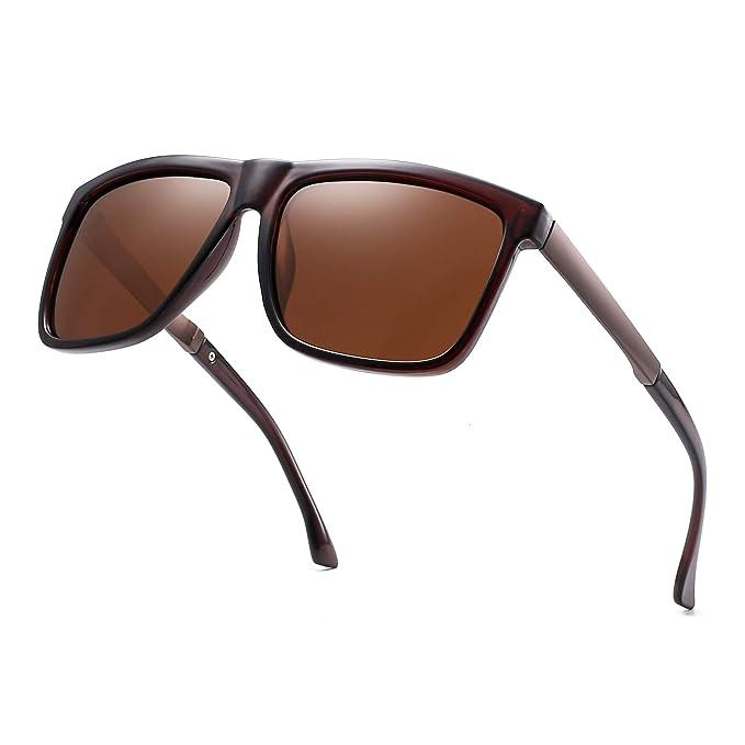 Polarizadas Espejo Gafas de Sol Cuadradas Conducir Anteojos Sombras Para Hombre Mujer (Marrón/Marrón